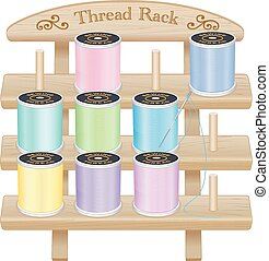 Wood Rack, Pastel Sewing Threads - Three shelf pine wood...