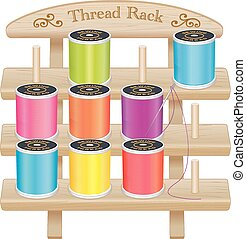 Wood Rack, Summer Sewing Threads