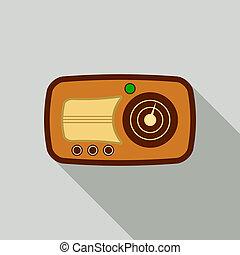 Wood radio icon, flat style
