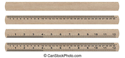 ruler - wood ruler isolated over a white background (with...