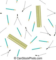 Wood Rulers Seamless Pattern