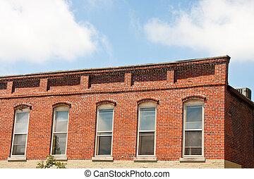 Wood Sash Windows on Old Brick Building