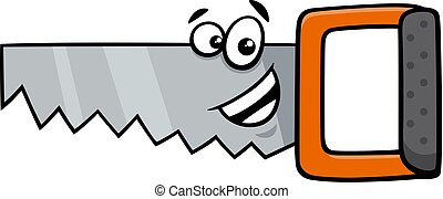 wood saw cartoon character - Cartoon Illustration of Wood...