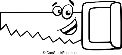 wood saw cartoon coloring page