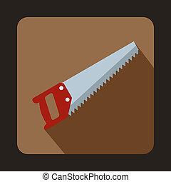 Wood saw icon, flat style