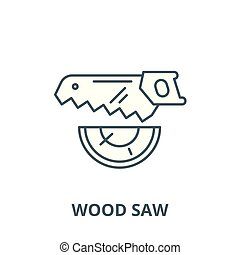 Wood saw vector line icon, linear concept, outline sign,...