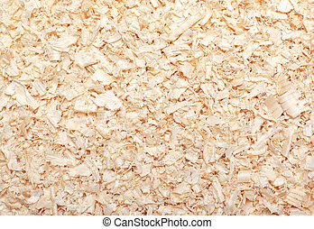 Wood sawdust texture material background closeup, top view
