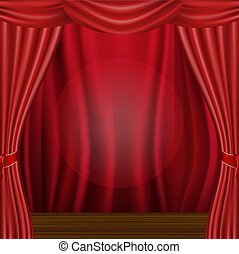 Wood Scene And Curtain, Vector Illustration