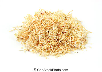 A small pile of wood shavings on a white background.