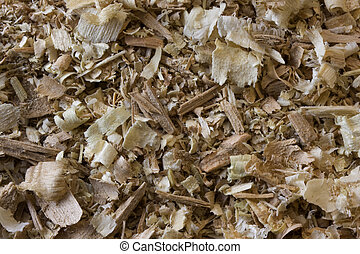 wood shavings, chips and sawdust - white and brown wood...