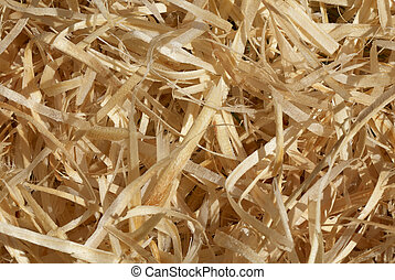 Wood shavings - Close-up of wood shavings for use as a...