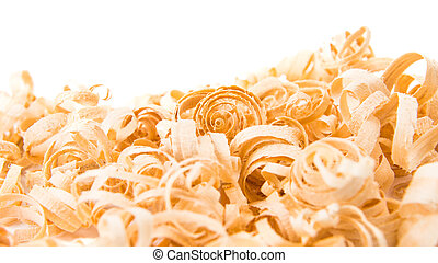 wood shavings on white background