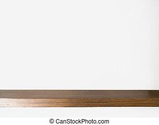 Wood Shelf Table on white background.