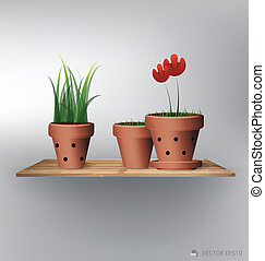 Wood shelf with red flower plant in clay pot. Vector...