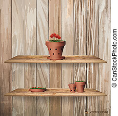 Wood shelf with red flower plant in clay pot. Vector ...