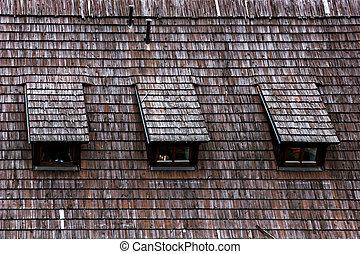 Wood shingle roof texture.