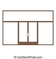 Wood Shopfront with Large Black Blank Windows. Vector