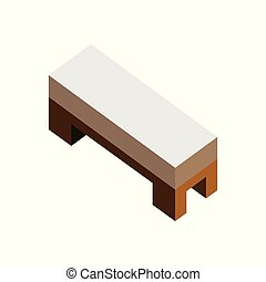 Wood Side Bed Sofa Seat 3D Isometric Furniture