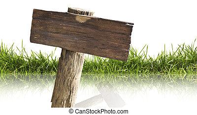 Wood sign and grass with reflection isolated on a white ...