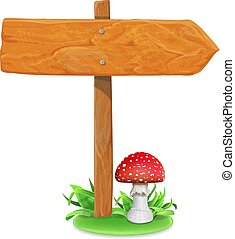 Wood sign board on a grass and mushroom vector illustration