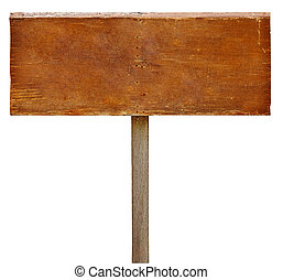 Wood sign board on white background