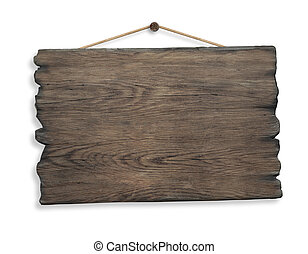 wood sign hanging on rope and nail isolated on white...