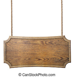 wood sign hanging on rope isolated on white background -...