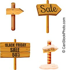 Wood sign icon set, cartoon style
