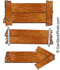 Wood Sign - Illustration of Blank Wooden signs, boards,...