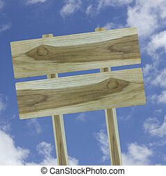 wood sign isolated on blue sky background