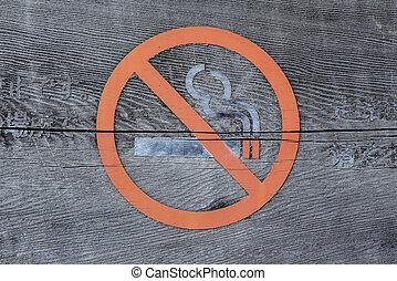 wood sign, no smoking