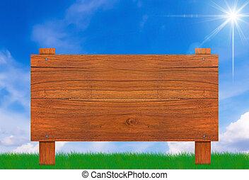 Wood Sign on Blue Sky
