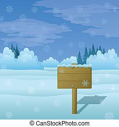 Wood sign on winter landscape