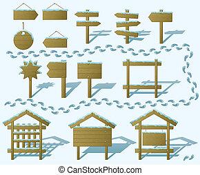 Wood signs winter, set, gradient