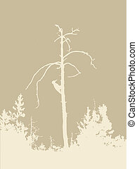 wood silhouette on brown background, vector illustration