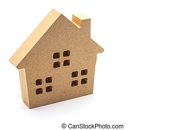 Wood small house on white background.