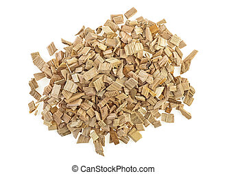 Wood smoking chips isolated on a white background