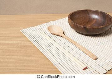 wood spoon bowl and chopstick