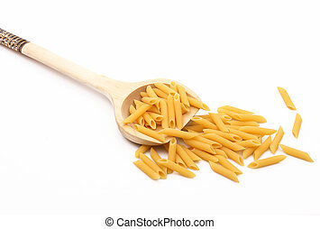 wood spoon with italian pasta on white background