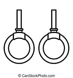 Wood sport rings icon, outline style