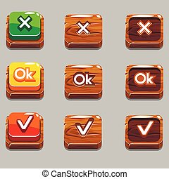 Wood square buttons for game , OK,Yes, close