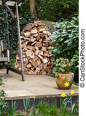 Wood stack - Circular wood stack or holz hausen with oak...