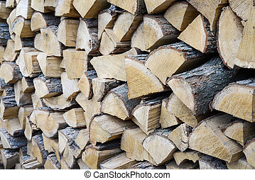 Wood stack from an angle in natural light