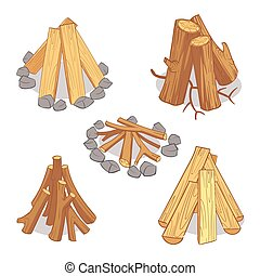 Wood stacks and hardwood firewood, wooden logs cartoon vector set