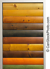 Wood stain varnish color samples