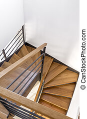 Wood staircase with black frame - Trendy dark wood staircase...