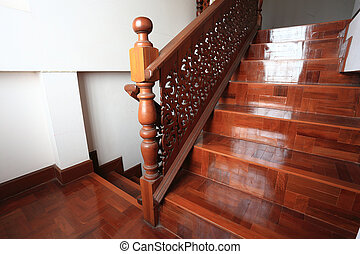 wood staircase with parquet floor - wood staircase interior...