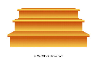 Wood steps (3) isolated on white background.