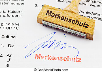 wood stamp on the document: brand protection