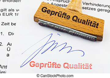 wood stamp on the document: proven quality